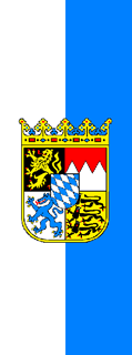 Bavarian Vertical Flag Vertically Striped with Coat of Arms