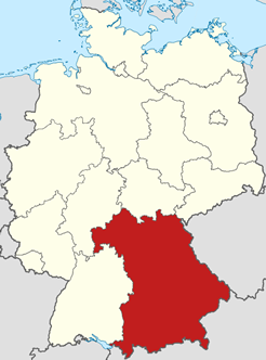 Map of Bavaria in Germany
