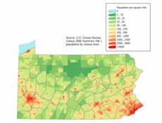 Population Map of Pennsylvania