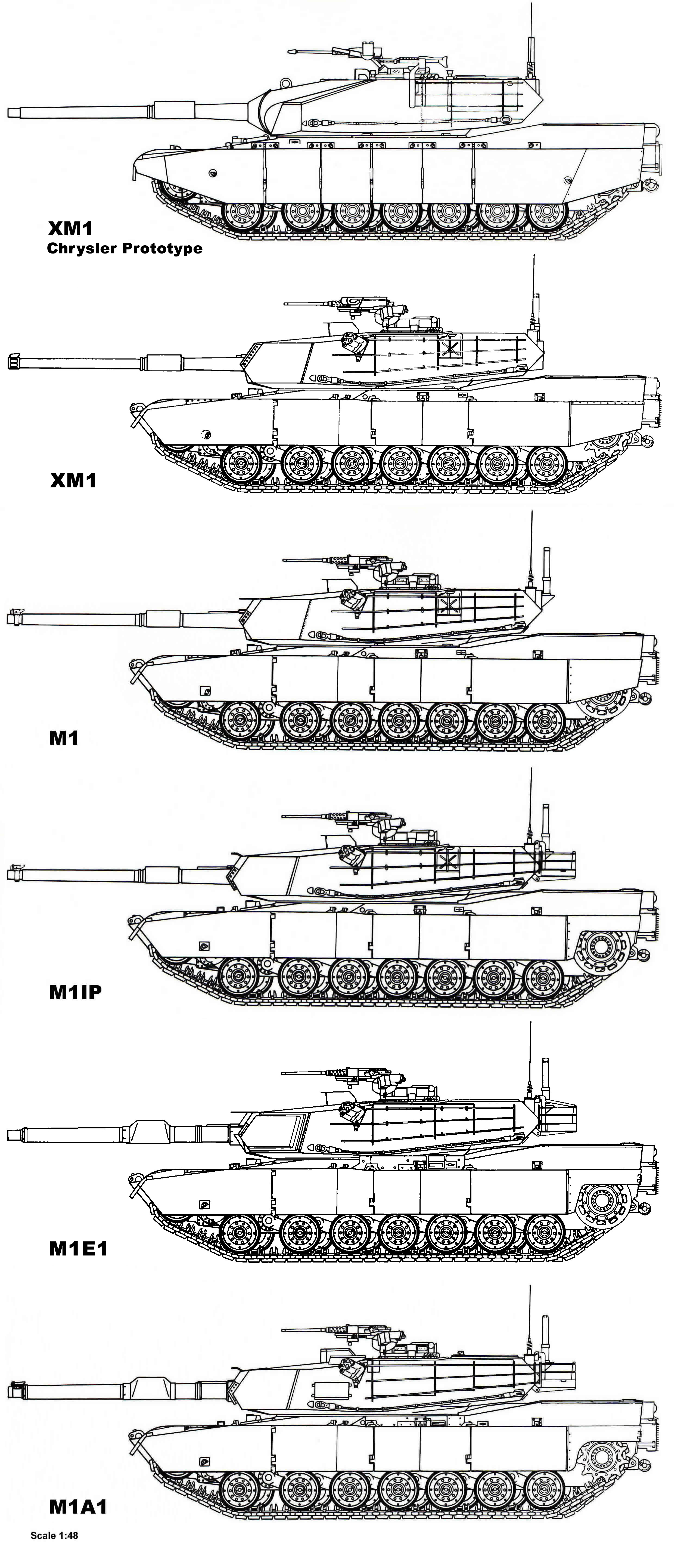 http://www.mihalko-family.com/Images/Military/Tanks/4-View%20M1%20Abrams%20Comparison.jpg