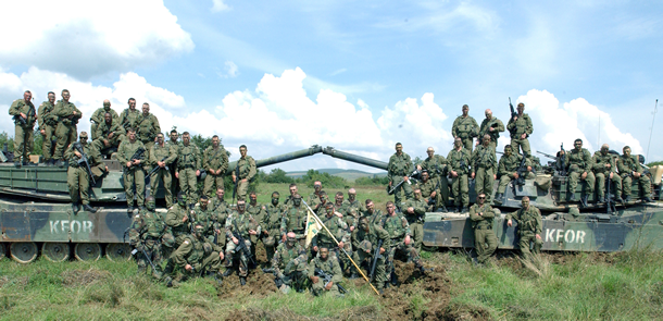 B Company 1-77 Armor at Falcon 4 Range in Kosovo during the summer of 2002